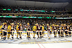 09 APR 2011: The University of Michigan and the University of Minnesota Duluth hockey teams shake hands at center ice following the Division I Men's Ice Hockey Championship held at the Xcel Energy Center in St. Paul, MN. Minnesota-Duluth beat Michigan in overtime, 3-2 to claim the national title. Vince Muzik/ NCAA Photos
