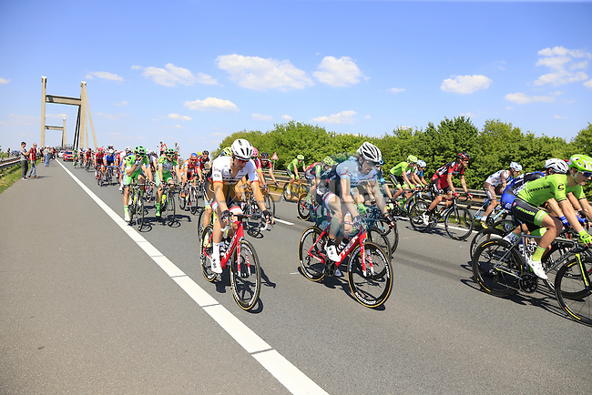 The peloton, including Fabian Cancellara (SUI) Trek-Segafredo, cross Prince Willem Alexander Bridge over the River Waal during Stage 2 of the 2016 Giro d'Italia running 190km from Arnhem to Nijmegen, The Nethrerlands. 7th May 2016.<br /> Picture: Eoin Clarke | Newsfile<br /> <br /> <br /> All photos usage must carry mandatory copyright credit (&copy; Newsfile | Eoin Clarke)
