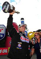 Aug. 21, 2011; Brainerd, MN, USA: NHRA pro stock driver Greg Anderson celebrates after winning the Lucas Oil Nationals at Brainerd International Raceway. Mandatory Credit: Mark J. Rebilas-