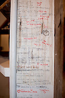 Wall height chart at the Orange Crate. At The Barn with family in Bridgehampton summer 2014.  Long Island, New York.