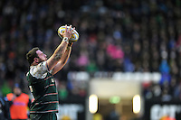 Greg Bateman of Leicester Tigers looks to throw into a lineout. Aviva Premiership match, between Leicester Tigers and Sale Sharks on February 6, 2016 at Welford Road in Leicester, England. Photo by: Patrick Khachfe / JMP