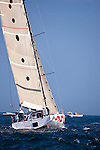 Dragon, class 15, sailing at the start of the Newport Bermuda Race 2010. The race started in Newport, Rhode Island on June 18, 2010.