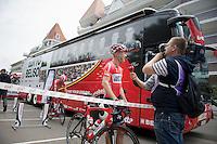 Lars Bak (DEN/Lotto-Belisol) interviewed before leaving for the start<br /> <br /> 2014 Tour de France<br /> stage 4: Le Touquet-Paris-Plage/Lille M&eacute;tropole (163km)