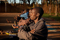 Young athletes in Brother Colm O'Connell's  sports development program at St. Patrick's Secondary School in Iten. His program  aims to develop atheltes as whole  people. Over 100 of his trainees have become world class runners.