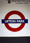 West Ham United 2 Crystal Palace 2, 02/04/2016. Boleyn Ground, Premier League. A London Underground sign at Upton Park station indicating the way to the Boleyn Ground, pictured before West Ham United hosted Crystal Palace in a Barclays Premier League match. The Boleyn Ground at Upton Park was the club's home ground from 1904 until the end of the 2015-16 season when they moved into the Olympic Stadium, built for the 2012 London games, at nearby Stratford. The match ended in a 2-2 draw, watched by a near-capacity crowd of 34,857. Photo by Colin McPherson.