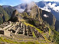 Machu Picchu at sunrise, Inca, Peru