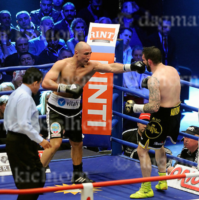 FEBRUARY 21-15, o2 world,BERLIN, GERMANY<br /> Super middleweight fighter Paul Smith of UK and Arthur Abraham,GER fight to win the WBO World Super Middleweight Championship rematch.