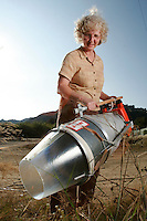 Jan Dietrick poses with a D-Vac insect Vacuum in Ventura, Calif., on Monday, Oct. 16, 2006. (Photo by Bryce Yukio Adolphson/Brooks Institute of Photography &copy;2006)<br />