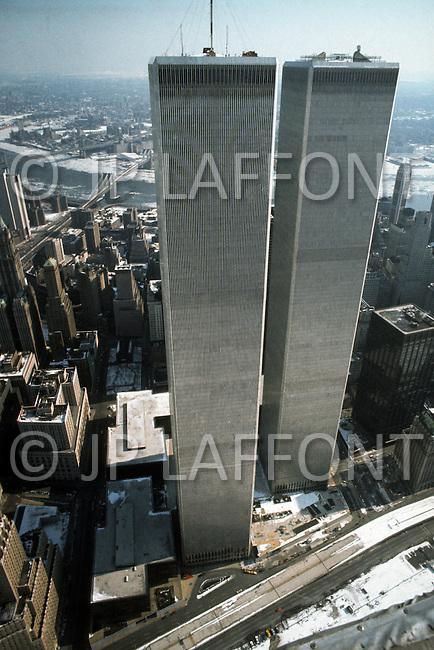 New York City, New York, 01 JAN 1977: Lower Manhattan Skyline showcasing the World Trade Center in the midst of winter