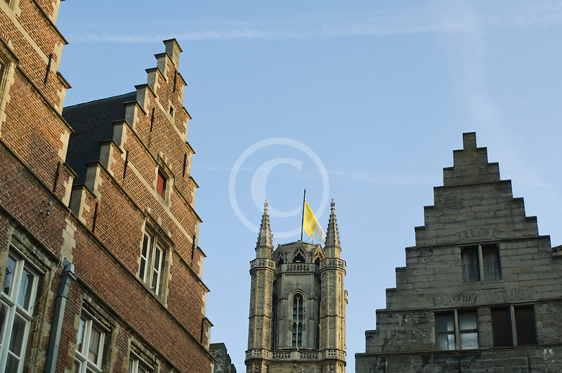 Belgium, Ghent, St. Bavo's Cathedral and gabled houses