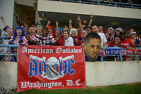 Antigua and Barbuda, Friday, Oct 12, 2012: The USA Men's National Team vs Antigua and Barbuda in the first round of qualifying for the 2014 World Cup. American Outlaws with Clint Dempsey sign.