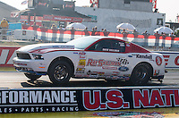 Aug. 30, 2013; Clermont, IN, USA: NHRA super stock driver Drew Skillman during qualifying for the US Nationals at Lucas Oil Raceway. Mandatory Credit: Mark J. Rebilas-