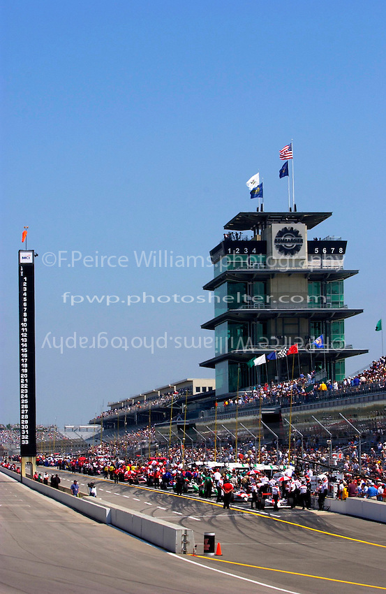 """Carburation Day for the 87th Indianapolis 500, Indianapolis Motor Speedway, Speedway, Indiana, USA  22 May,2003.The Scoring Pylon and Pagoda on """"Carb Day"""" morning..World Copyright©F.Peirce Williams 2003 .ref: Digital Image Only..F. Peirce Williams .photography.P.O.Box 455 Eaton, OH 45320.p: 317.358.7326  e: fpwp@mac.com.."""
