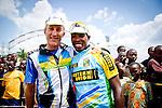 Adrien Niyonshuti(Team Rwanda Karisimbi) and  Jock Boyer