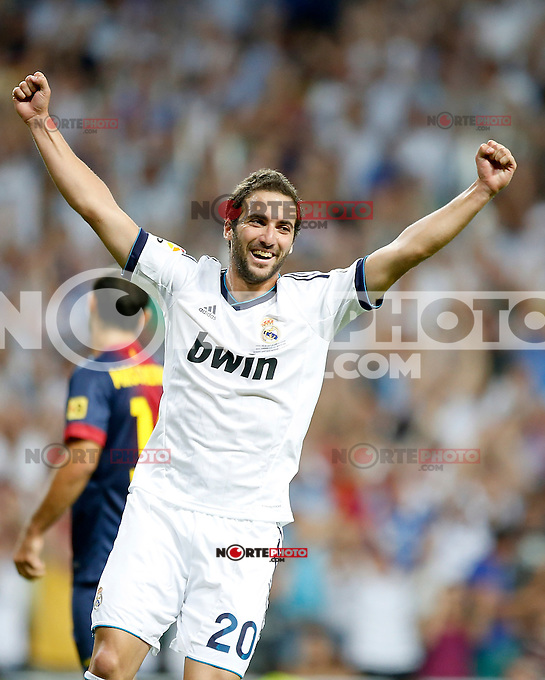 Real Madrid's Gonzalo Higuain celebrates during Super Cup match. August 29, 2012. (ALTERPHOTOS/Alvaro Hernandez). NortePhoto.com