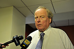 Nassau County Legislature Presiding Officer Peter Schmitt (Republican) speaks about postponing vote on controversial merging of Police Precincts, on Monday, February 27, 2012. Vote is tentatively rescheduled for March 5.