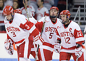 The Terriers celebrate Chris Connolly's (BU - 12) goal which tied the game at 3 with 10 seconds remaining in the first period. - The Boston University Terriers defeated the visiting University of Toronto Varsity Blues 9-3 on Saturday, October 2, 2010, at Agganis Arena in Boston, MA.