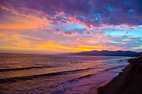 Santa Monica Beach amid the sunset on Thursday, May 9, 2013.