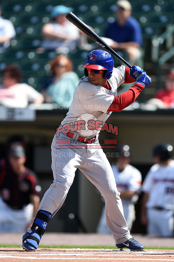 Buffalo Bisons outfielder Anthony Gose (8) at bat during the first game of a doubleheader against the Rochester Red Wings on July 6, 2014 at Frontier Field in Rochester, New  York.  Rochester defeated Buffalo 6-1.  (Mike Janes/Four Seam Images)