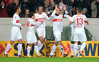 Fussball 1. Bundesliga:  Saison   2011/2012    16. Spieltag VfB Stuttgart - FC Bayern Muenchen  11.12.2011 Jubel nach dem Tor zum 1:0 Martin Harnik , Christian Gentner, Timo Gebhart (v. li., VfB Stuttgart)