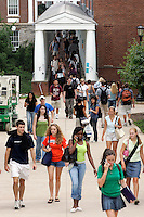 Students walk thru campus at the University of Virginia in Charlottesville, VA. Photo/Andrew Shurtleff