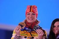 OLYMPICS: SOCHI: Medal Plaza, 15-02-2014, Alpine Skiing, Women's Super-G, Maria Hoefl-Riesch (GER), ©photo Martin de Jong