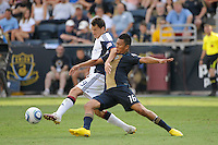 Marko Perovic (29) of the New England Revolution and Michael Orozco Fiscal (16) of the Philadelphia Union battle for the ball. The Philadelphia Union and the New England Revolution  played to a 1-1 tie during a Major League Soccer (MLS) match at PPL Park in Chester, PA, on July 31, 2010.