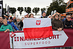 Polish fans at sign on before the start of the 2017 Strade Bianche running 175km from Siena to Siena, Tuscany, Italy 4th March 2017.<br /> Picture: Heinz &amp; Sabine Zwicky/Radsport.ch | Newsfile<br /> <br /> <br /> All photos usage must carry mandatory copyright credit (&copy; Newsfile | Heinz &amp; Sabine Zwicky/Radsport.ch)