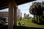 Salvation Army employees relax under a highway in downtown Tampa for the Republican National Convention, August 30, 2012.