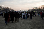 January 20, 2009. Washington, DC..Almost 2 million people packed the National Mall in sub freezing temperatures to witness the swearing in of Barack Obama, the 44th president of the united States and the first African American to hold the office.