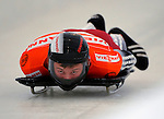 14 December 2007: Martins Dukurs, racing for Latvia, starts his first run at the FIBT World Cup Skeleton Competition at the Olympic Sports Complex on Mount Van Hovenberg, at Lake Placid, New York, USA...Mandatory Photo Credit: Ed Wolfstein Photo