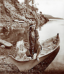 Vintage Photo: Indian Girl in a canoe,  circa 1900.