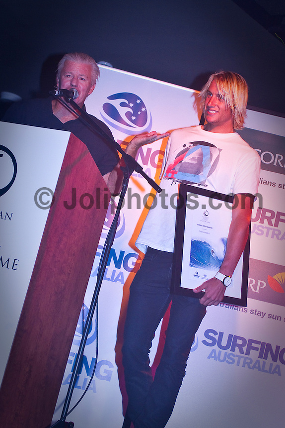 Gold Coast Queensland, Saturday 20th February, 2010:  DOUG Warbrick's huge contribution to Australian surfing has finally been acknowledged with his elevation to the sport?s Hall of Fame at the.Australian Surfing Awards on the southern end of the Gold Coast last night.. .Surf businessman Warbrick became the 32nd member respectively of the Hall of Fame which began with the initial induction of Snow McAllister (Deceased) and 4 x World Champion Mark Richards in 1985...Tonight's awards at the Coolangatta Hotel was organised by Surfing Australia and featured a who?s who of the Australian surfing community...Learning to surf in the 1950?s at Currumbin and Maroochydore, Warbrick founded Rip Curl in 1967 with Brian Singer...He started making surfboards to indulge his passion at Torquay and by 1969 with the help of a vintage sewing machine began running up wet suits...He was responsible for starting the Bells Beach Surf Classic aka the Rip Curl Pro in 1973, held during Easter each year at Bells Beach...Warbrick?s other surfing achievements include being an original member of the ASA (now Surfing Australia) in 1963 and was a committee member and V.P of Surfing Victoria in the 1960's and 70's.  He was also a founding member of the ASP World Tour and the Surfrider Foundation Australia...After surfing for over 50 years Warbrick still maintains a fierce passion for everything surfing; the industry, sport, culture, history, contests, free surfing,  innovation, travel and adventure, as well as mentoring surfing's great young talents and witnessing their exceptional performances plus riding a few secret waves with my mates!..Warbrick, who is better known as 'Claw', said it was an emotional moment being inducted into the sport?s Hall of Fame...Two time and defending ASP Men?s World Champion Mick Fanning (AUS) was recognised as the Male Surfer of the Year, three time ASP Women?s World Champion.Stephanie Gilmore (AUS) was named Female surfer of the year, with Lennox Head's Owen Wright