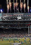 (Boston, MA, 11/21/15) Fireworks are set off as Notre Dame hosts Boston College at Fenway Park in Boston on Saturday, November 21, 2015. Photo by Christopher Evans