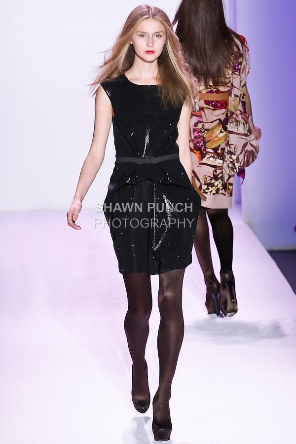 Olga Sherer walks the runway in an outfit by Thuy Diep, for her Thuy Fall Winter 2010 collection fashion show, during Mercedes-Benz Fashion Week Fall 2010.