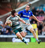 Harry Thacker of Leicester Tigers goes on the attack. Aviva Premiership match, between Leicester Tigers and Saracens on March 20, 2016 at Welford Road in Leicester, England. Photo by: Patrick Khachfe / JMP
