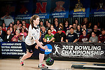 14 APR 2012: Michelle Hunzacker (42) of Fairleigh Dickson University bowls during the Division I Womens Bowling Championship held at Freeway Lanes in Wickliffe, OH.  The University of Maryland Eastern Shore defeated Fairleigh Dickinson 4-2 to win the national title.  Jason Miller/NCAA Photos