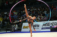 Inna Zhukova of Belarus performs with ribbon at 2008 Portimao World Cup of Rhythmic Gymnastics on April 20, 2008.  Photo by Tom Theobald.