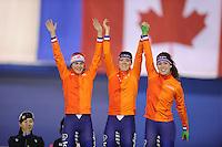 SPEEDSKATING: CALGARY: 14-11-2015, Olympic Oval, ISU World Cup, Podium Ladies Team Pursuit, Marrit Leenstra, Marije Joling, Antoinette de Jong, Team NED, ©foto Martin de Jong
