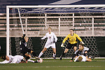 3 November 2006: Florida State's Colette Swensen (25) tackles the ball away from Wake Forest's Elizabeth Remy (14) just before Remy can put a shot on goal. Florida State defeated Wake Forest 4-2 in penalty kicks after playing to a 0-0 draw after overtime at SAS Soccer Park in Cary, North Carolina in an Atlantic Coast Conference women's college soccer tournament semifinal game.