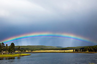 Rainbow over the Yellowstone River in the Hayden Valley of Yellowstone National Park