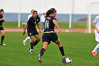Lauren Cheney advances the ball vs. Iceland.  The USWNT defeated Iceland (2-0) at Vila Real Sto. Antonio in their opener of the 2010 Algarve Cup on February 24, 2010.