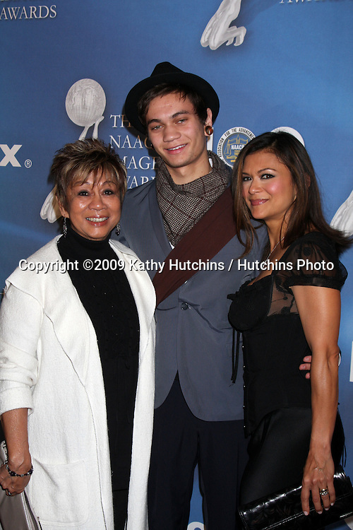 Elizabeth Peeples (Her mom) , Christopher Hewett (Her son) &  Nia Peeples,    arriving at the NAACP Luncheon  at the Beverly Hills Hotel in Beverly Hills, CA on .February 7, 2009.©2009 Kathy Hutchins / Hutchins Photo..