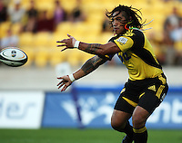Hurricanes second five Ma'a Nonu passes during the Super 14 rugby match between the Hurricanes and Western Force at Westpac Stadium, Wellington, New Zealand on Saturday, 20 February 2010. Photo: Dave Lintott / lintottphoto.co.nz