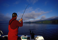 Buddy Mays playing a silver salmon at King Pacific Resort in northern British Columbia.