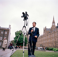 UK. London. From a story on Abingdon Street Gardens, a small patch of land, often referred to as College Green, that lies next to The Houses of Parliament in Westminster. It is a place where the media and the politicians come face to face. Interviews are held, photo shoots are set up and bewildered tourists stroll by..Photo shows the square on the day Gordon Brown succeeded Tony Blair as Britain's Prime Minister..Photo©Steve Forrest/Workers Photos