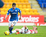 St Johnstone v Hamilton Accies...12.09.15  SPFL McDiarmid Park, Perth<br /> Craig Thomson gets away from Grant Gillepsie<br /> Picture by Graeme Hart.<br /> Copyright Perthshire Picture Agency<br /> Tel: 01738 623350  Mobile: 07990 594431