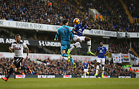 Everton's Enner Valencia beats Tottenham Hotspur's Hugo Lloris to the ball<br /> <br /> Photographer Rob Newell/CameraSport<br /> <br /> The Premier League - Tottenham Hotspur v Everton - Sunday March 5th 2017 - White Hart Lane - London<br /> <br /> World Copyright &copy; 2017 CameraSport. All rights reserved. 43 Linden Ave. Countesthorpe. Leicester. England. LE8 5PG - Tel: +44 (0) 116 277 4147 - admin@camerasport.com - www.camerasport.com