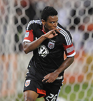 D.C. United forward Lionard Pajoy (26) celebrates his score in the 45th minute of the game. D.C. United defeated The Chicago Fire 4-2 at RFK Stadium, Wednesday August 22, 2012.