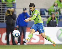 Seattle Sounders FC forward Fredy Montero takes a shot on goal during play against the Houston Dynamo at Qwest Field in Seattle Friday March 25, 2011. The match ended in a 1-1 draw.